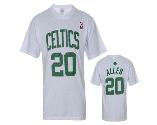 Discount For Boston Celtics #20 Ray Allen White NBA T-Shirts