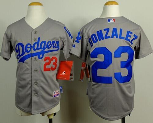 041804ed181 Dodgers  23 Adrian Gonzalez Grey Cool Base Stitched Youth Baseba